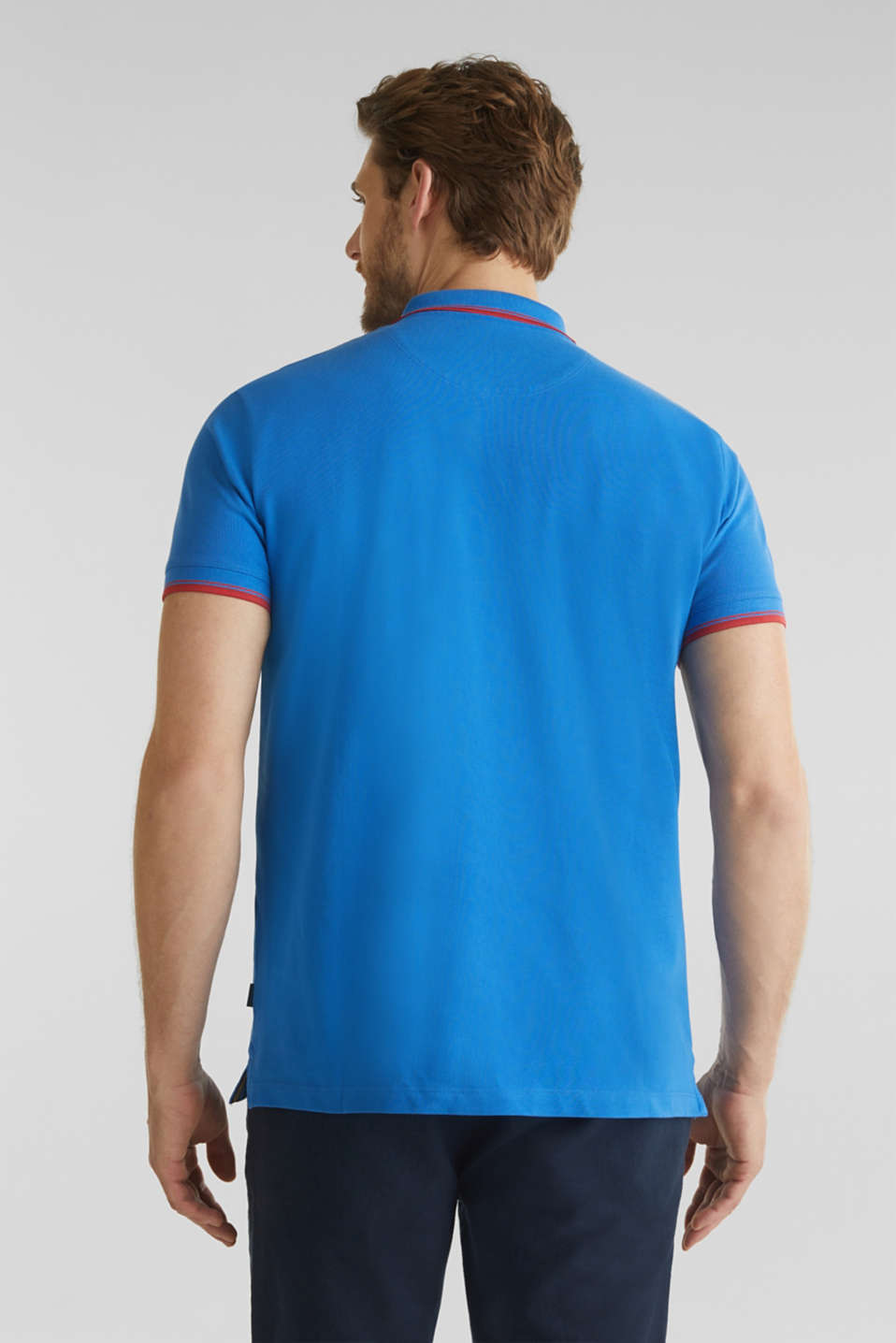 Piqué polo shirt in 100% cotton, BLUE 2, detail image number 3