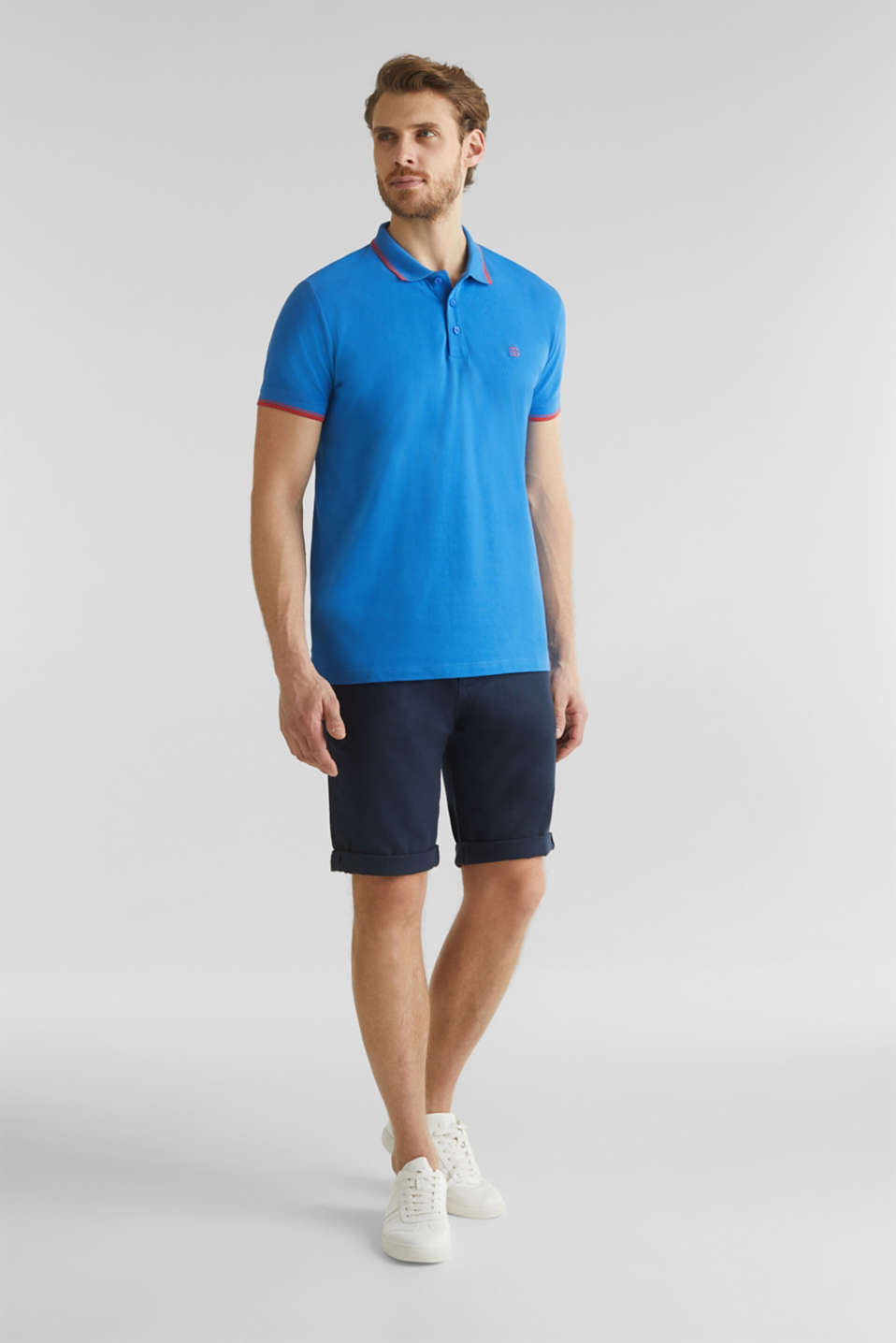 Piqué polo shirt in 100% cotton, BLUE 2, detail image number 2