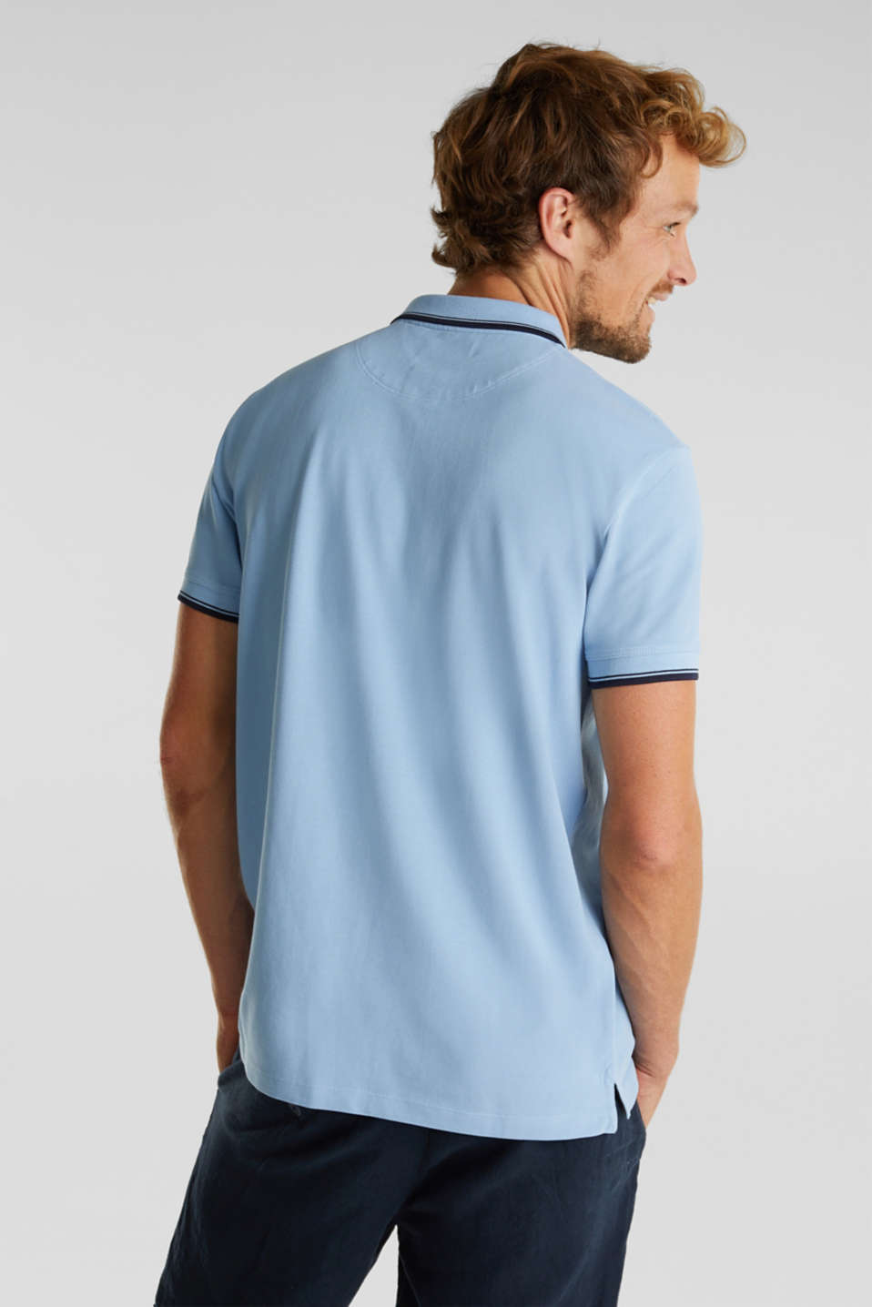 Piqué polo shirt in 100% cotton, LIGHT BLUE, detail image number 3