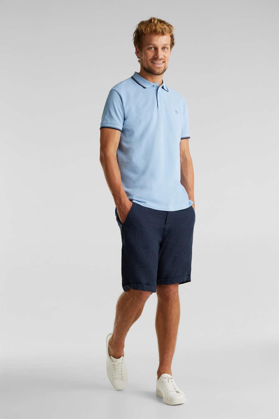 Piqué polo shirt in 100% cotton, LIGHT BLUE, detail image number 2