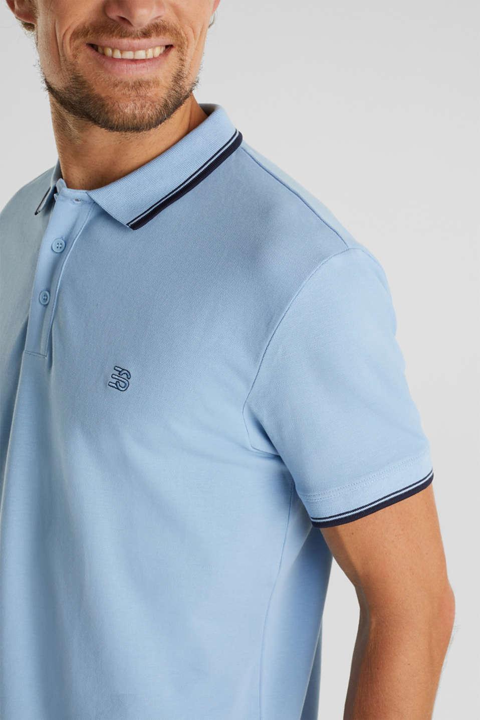 Piqué polo shirt in 100% cotton, LIGHT BLUE, detail image number 1