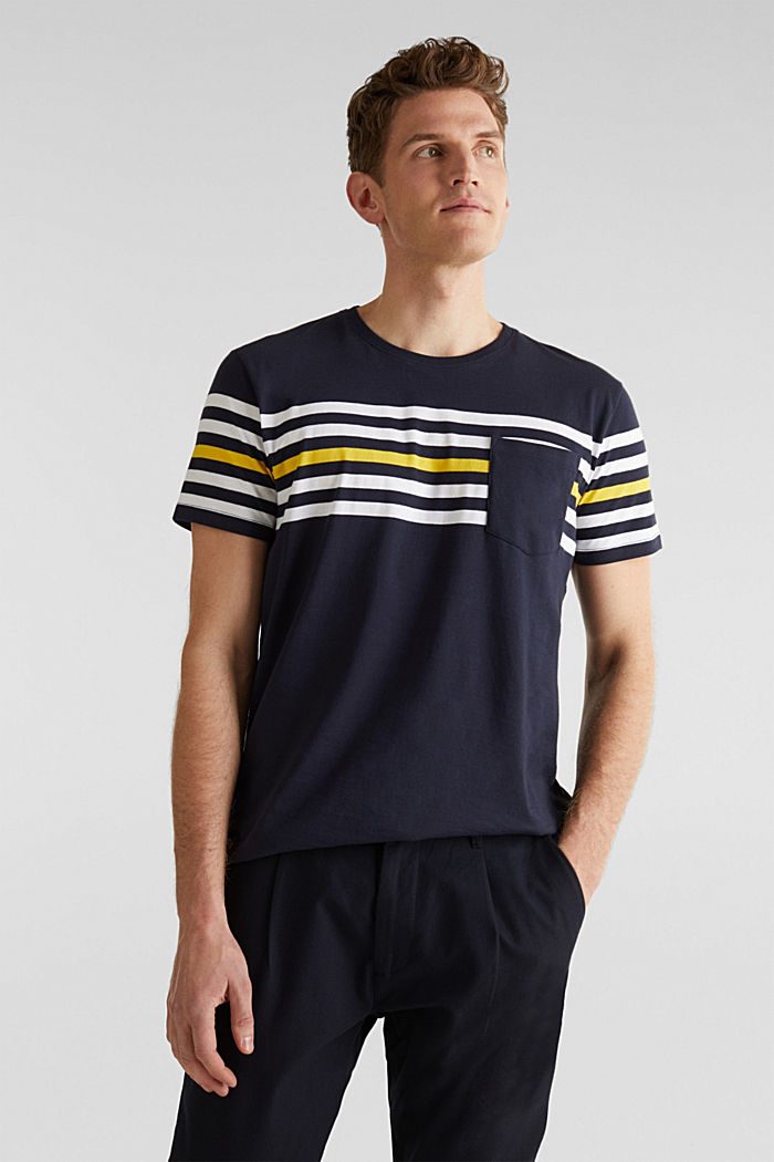Jersey T-shirt with stripes, 100% cotton, NAVY, detail image number 0
