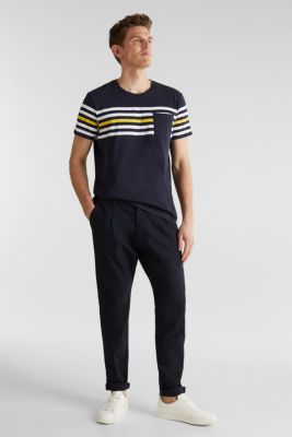 Jersey T-shirt with stripes, 100% cotton, NAVY 3, detail