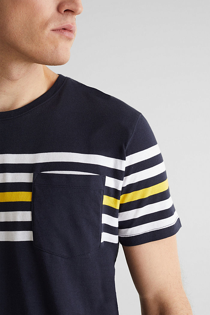 Jersey T-shirt with stripes, 100% cotton, NAVY, detail image number 1