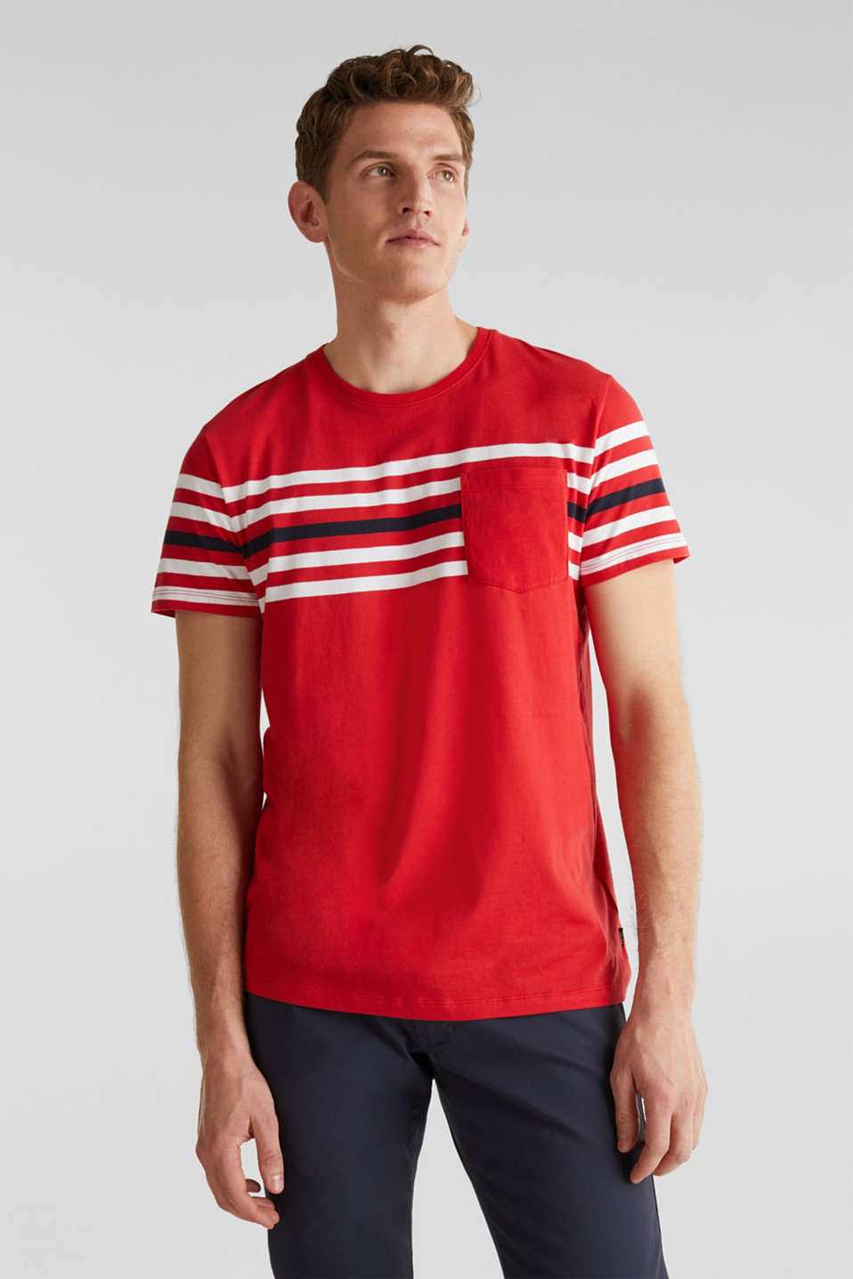 Jersey T-shirt with stripes, 100% cotton, RED 3, detail image number 0