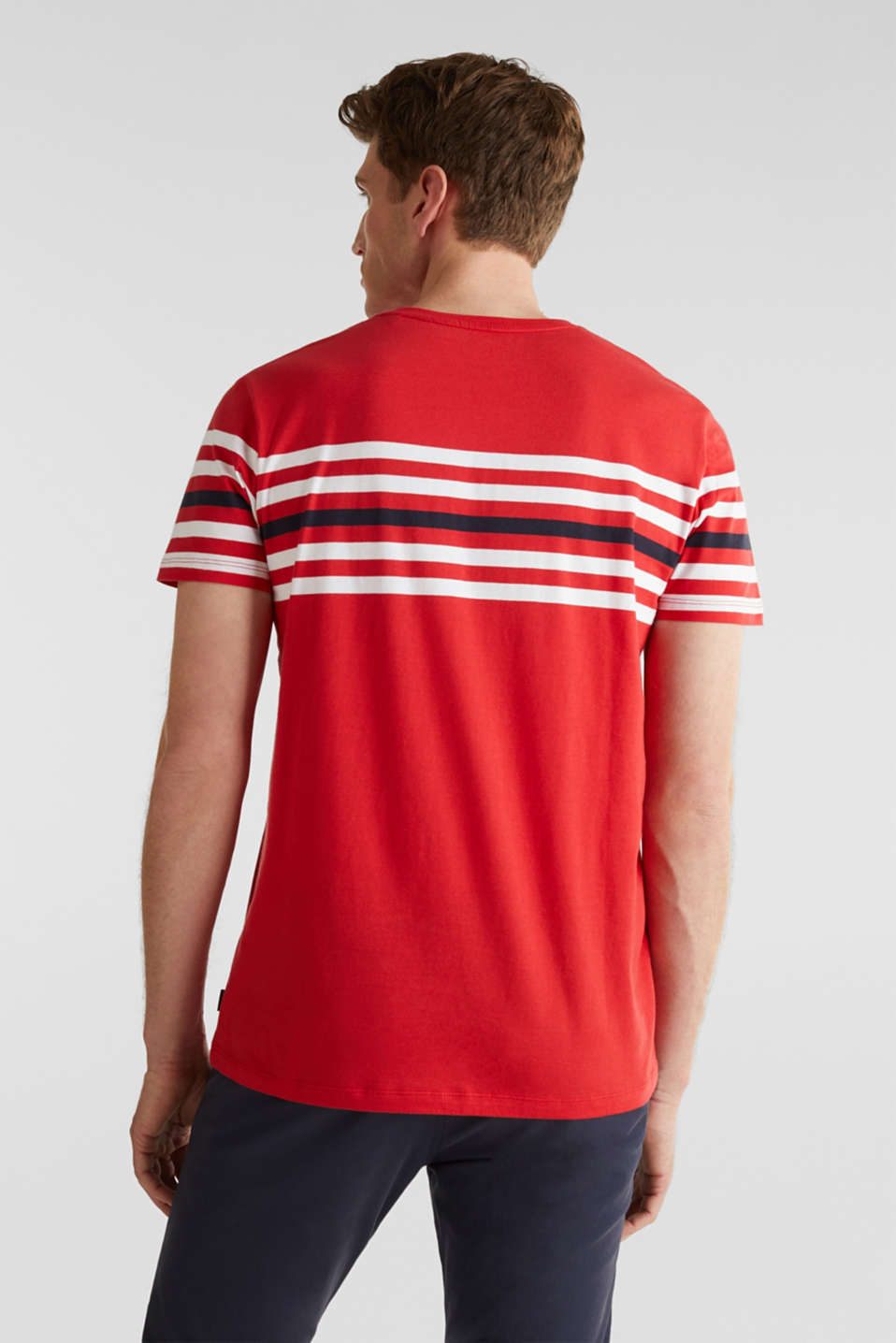 Jersey T-shirt with stripes, 100% cotton, RED 3, detail image number 2