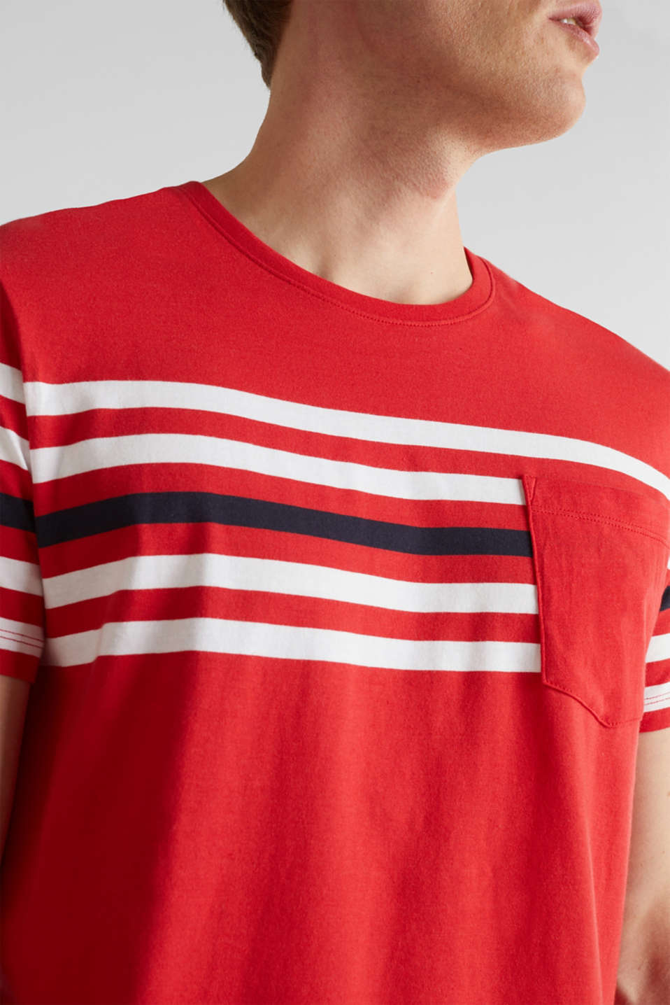 Jersey T-shirt with stripes, 100% cotton, RED 3, detail image number 1