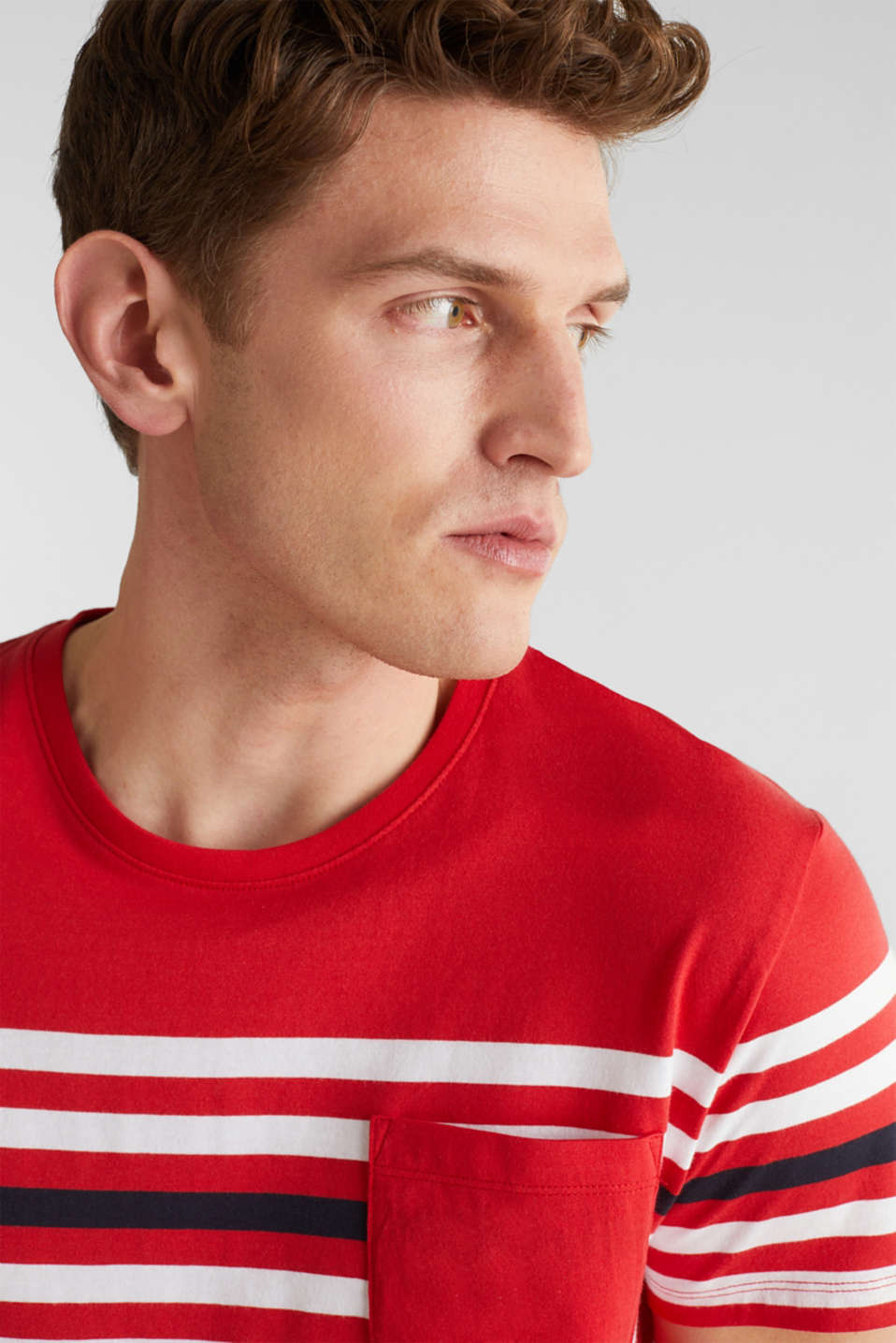 Jersey T-shirt with stripes, 100% cotton, RED 3, detail image number 5