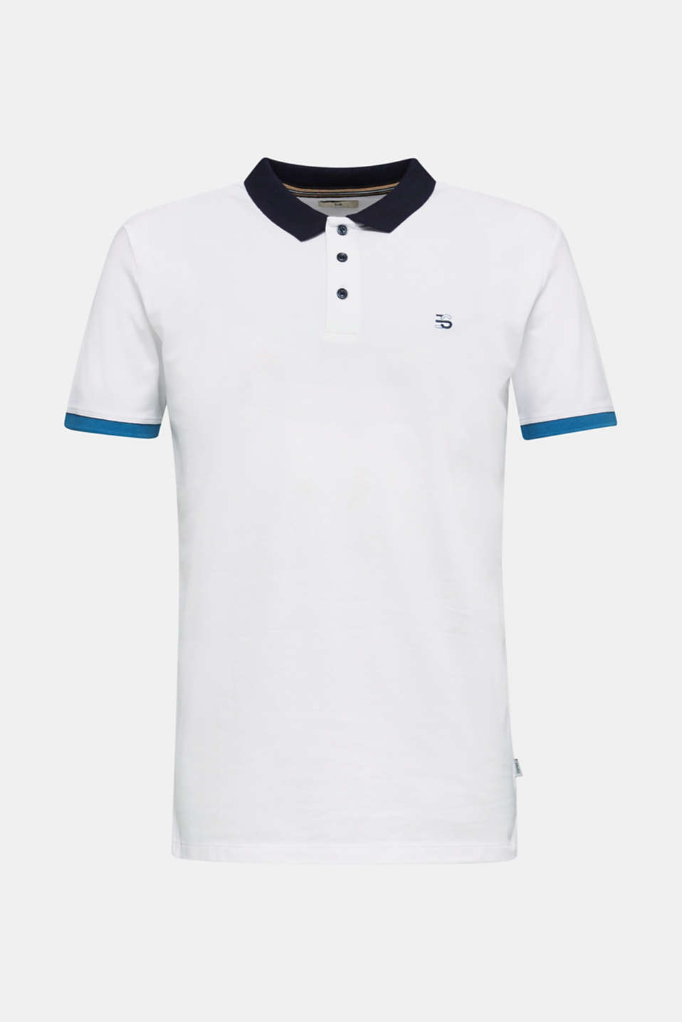 Stretch cotton piqué polo shirt, WHITE 2, detail image number 4