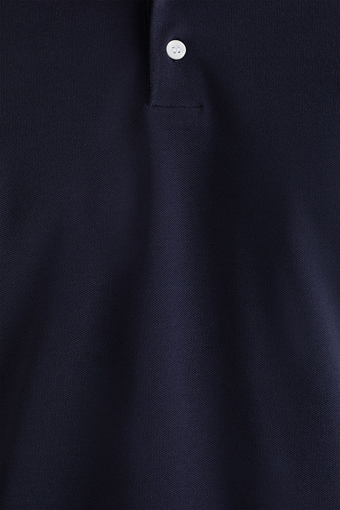 Stretch cotton piqué polo shirt, NAVY, detail image number 4