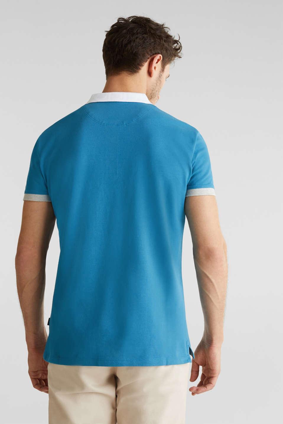 Stretch cotton piqué polo shirt, PETROL BLUE 2, detail image number 3