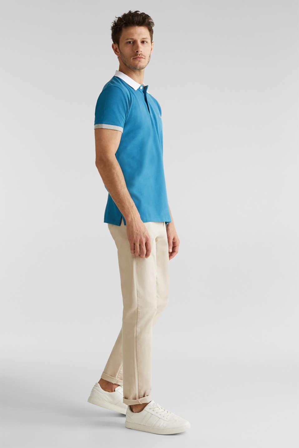 Stretch cotton piqué polo shirt, PETROL BLUE 2, detail image number 4