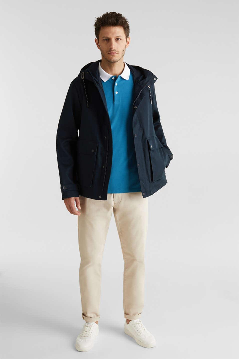 Stretch cotton piqué polo shirt, PETROL BLUE 2, detail image number 2