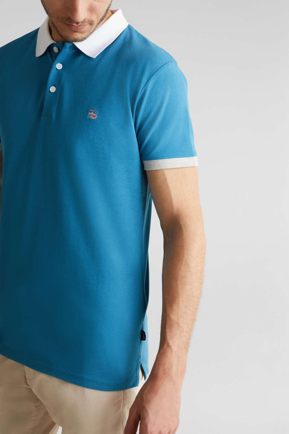Stretch cotton piqué polo shirt, PETROL BLUE 2, detail image number 1