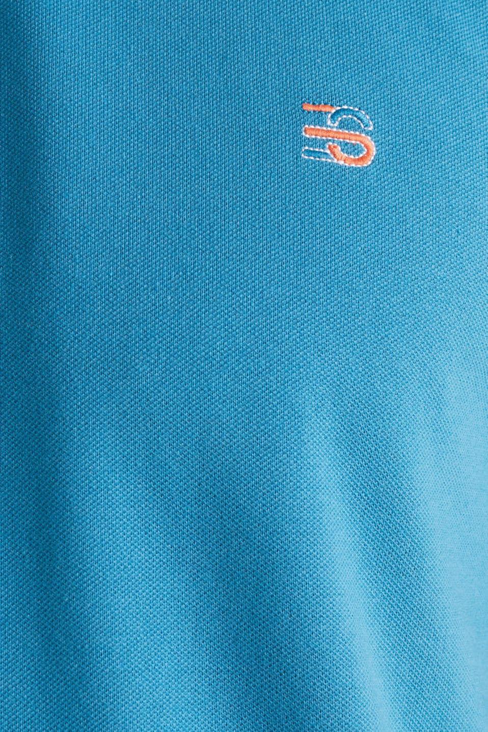 Stretch cotton piqué polo shirt, PETROL BLUE 2, detail image number 5