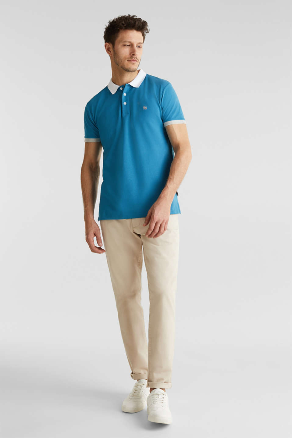 Stretch cotton piqué polo shirt, PETROL BLUE 2, detail image number 6
