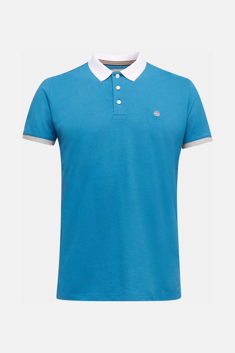 Stretch cotton piqué polo shirt, PETROL BLUE 2, detail image number 7