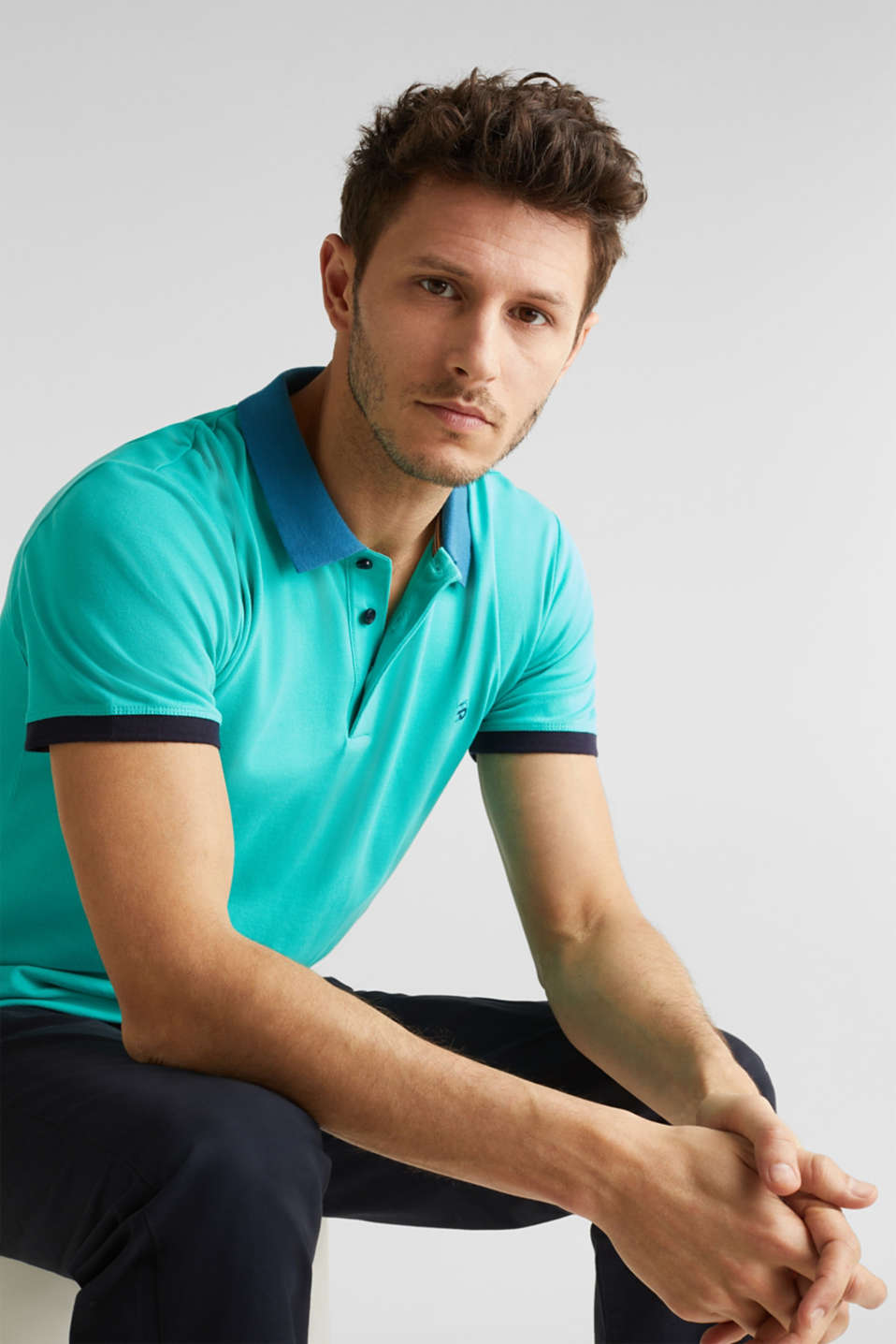 Stretch cotton piqué polo shirt, LIGHT TURQUOISE 2, detail image number 0