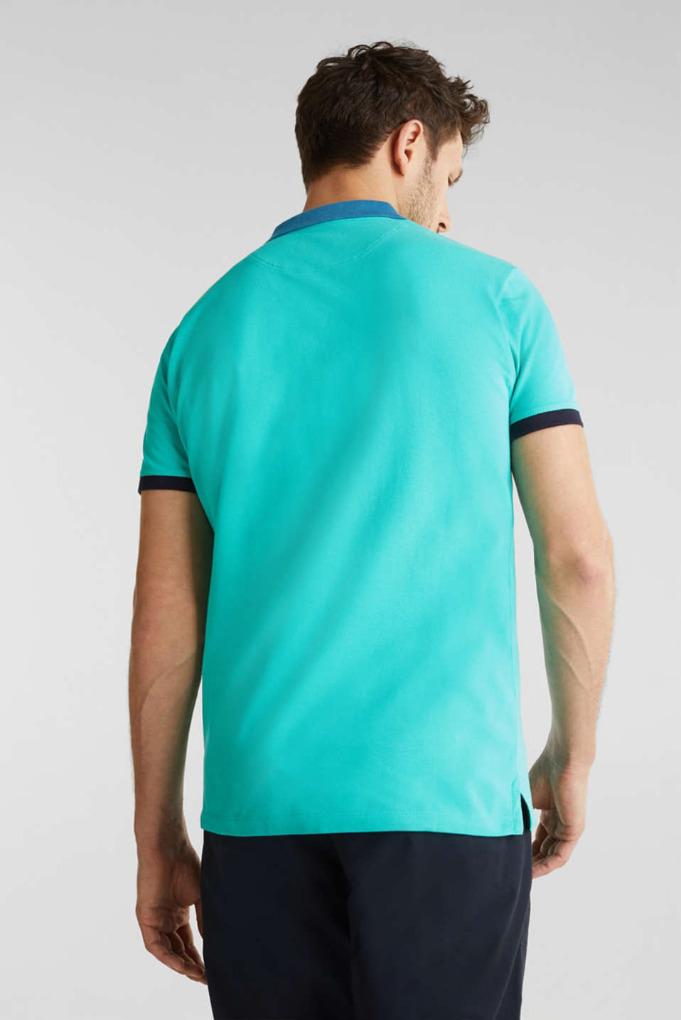 Stretch cotton piqué polo shirt, LIGHT TURQUOISE 2, detail image number 2
