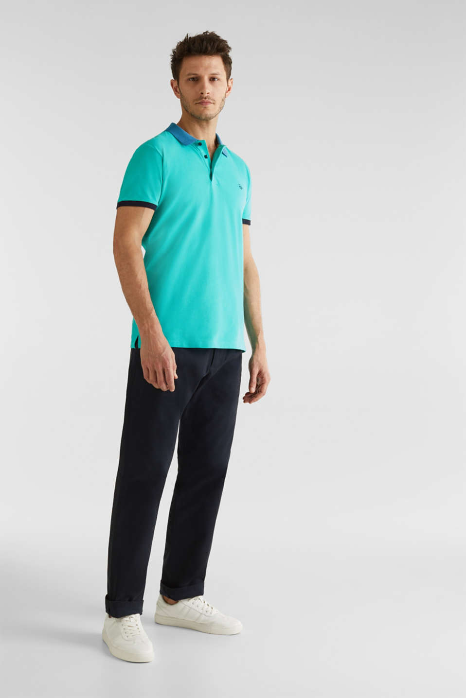 Stretch cotton piqué polo shirt, LIGHT TURQUOISE 2, detail image number 1