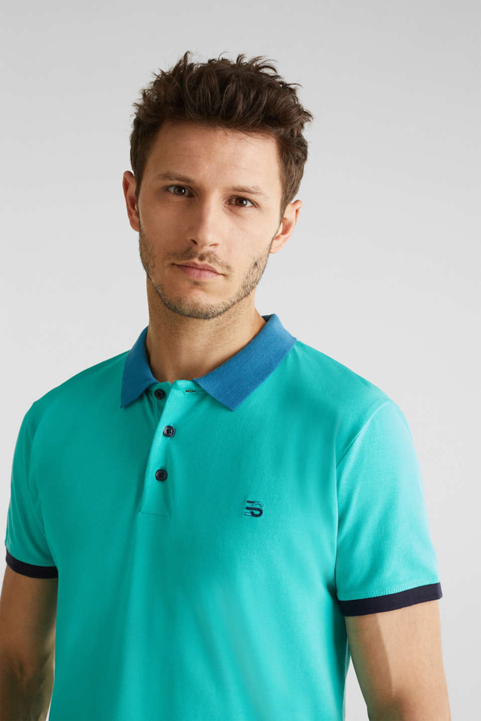 Stretch cotton piqué polo shirt, LIGHT TURQUOISE 2, detail image number 4