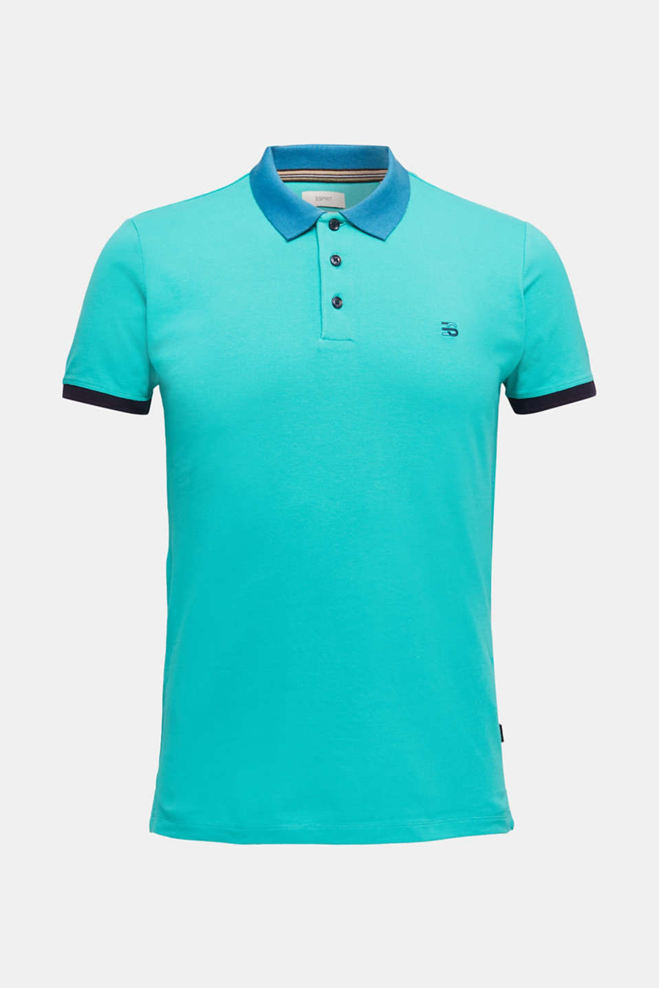Stretch cotton piqué polo shirt, LIGHT TURQUOISE 2, detail image number 6
