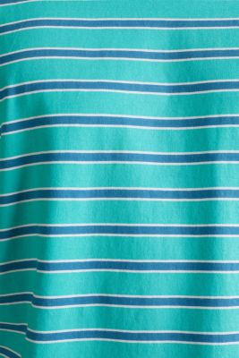 Jersey T-shirt with stripes, 100% cotton, LIGHT TURQUOISE 3, detail