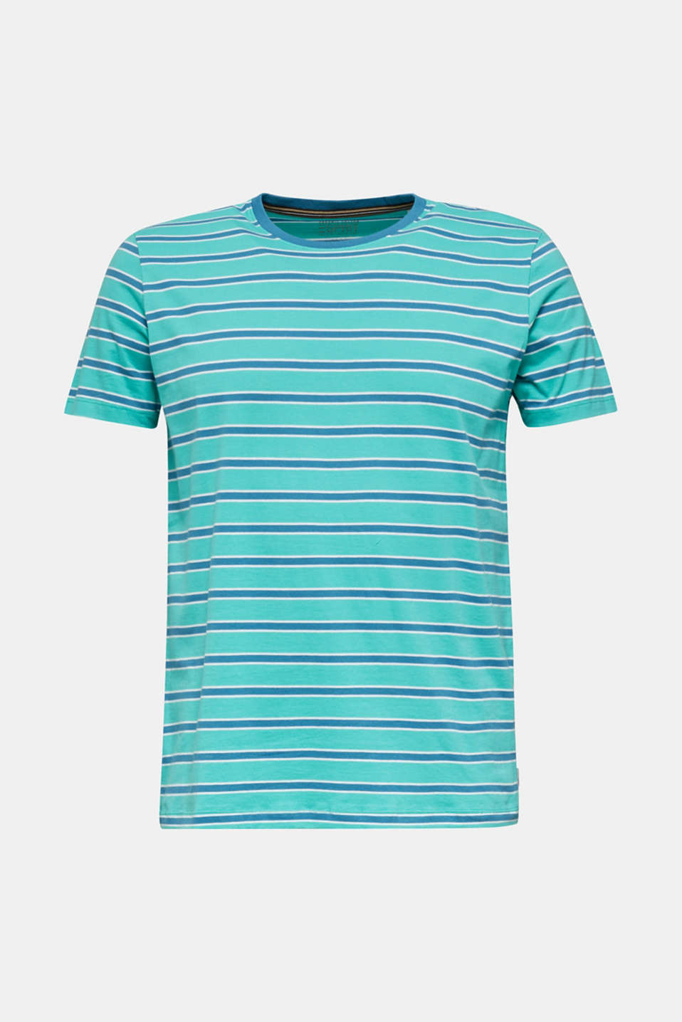 Jersey T-shirt with stripes, 100% cotton, LIGHT TURQUOISE 3, detail image number 5
