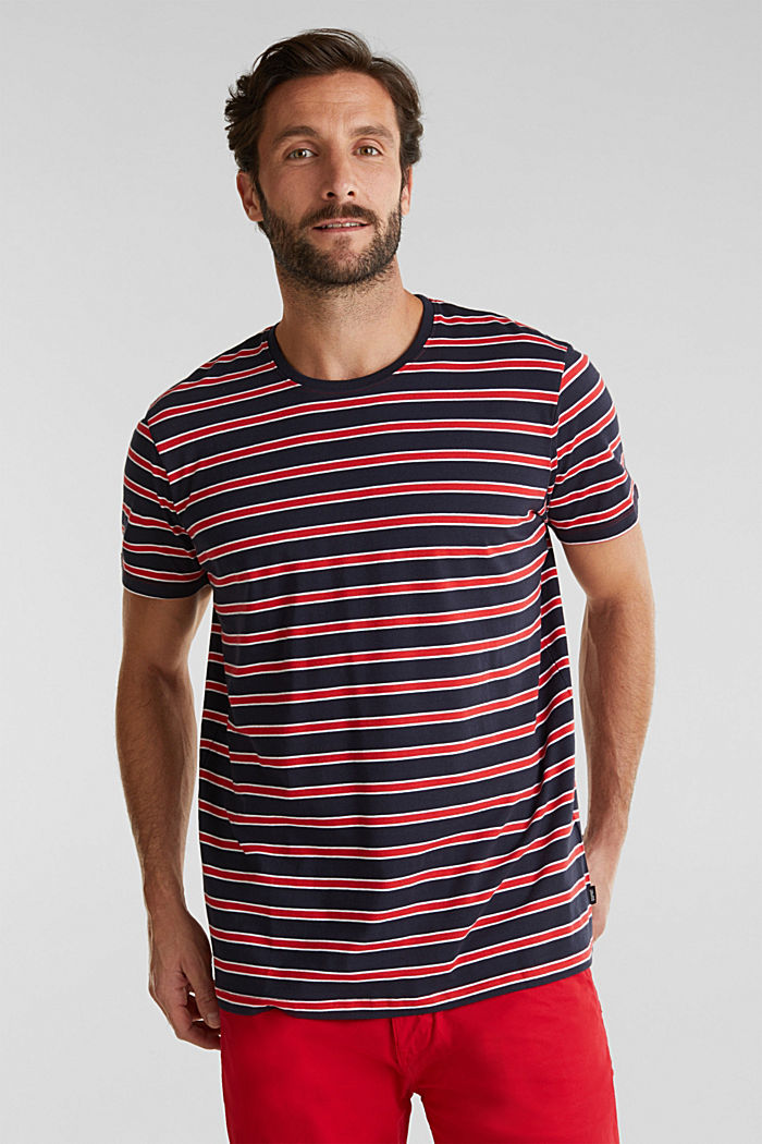 Jersey T-shirt with stripes, 100% cotton, RED, detail image number 0