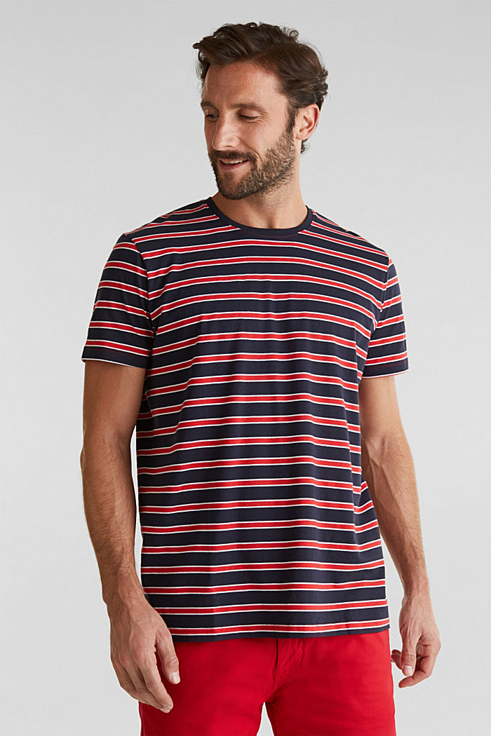Jersey T-shirt with stripes, 100% cotton, RED, detail image number 4