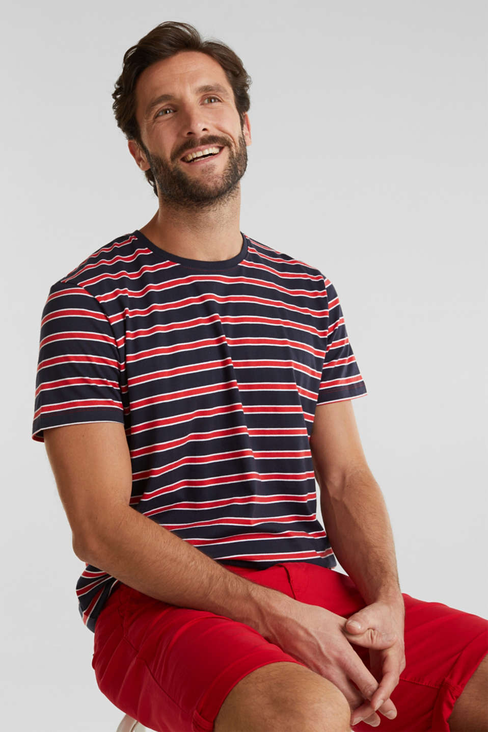 Jersey T-shirt with stripes, 100% cotton, RED 3, detail image number 6