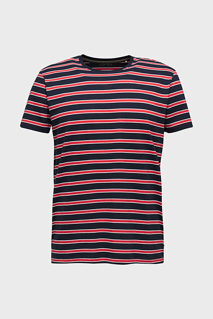 Jersey T-shirt with stripes, 100% cotton, RED, overview