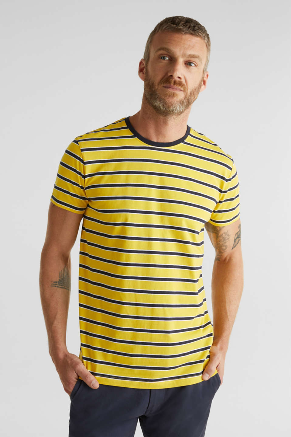 Jersey T-shirt with stripes, 100% cotton, YELLOW 3, detail image number 0