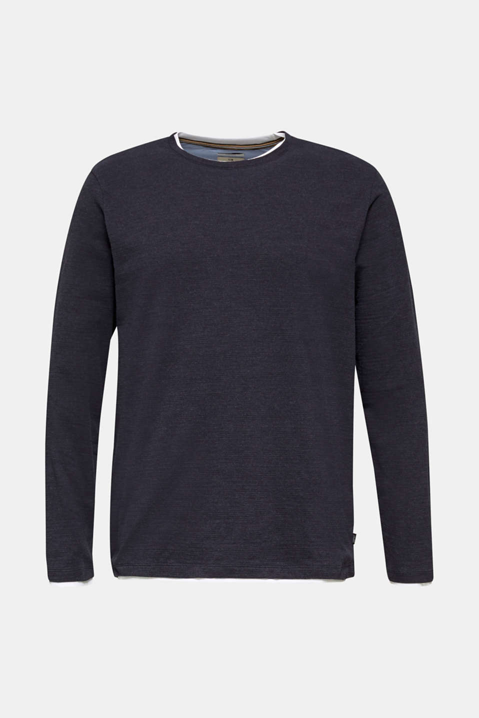 Long sleeve top made of textured jersey, NAVY 5, detail image number 6