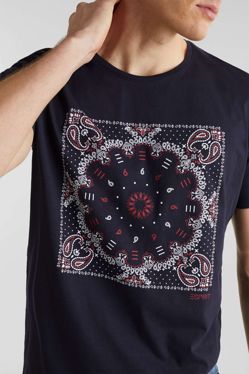 Jersey T-shirt with a bandana print, 100% cotton, NAVY, detail image number 1