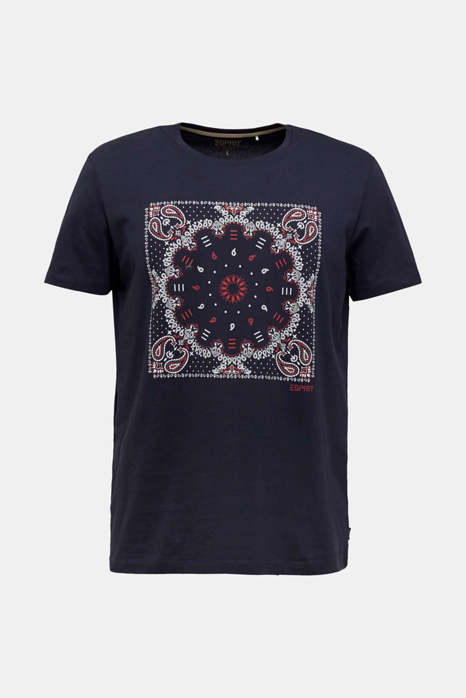 Jersey T-shirt with a bandana print, 100% cotton, NAVY, detail image number 5