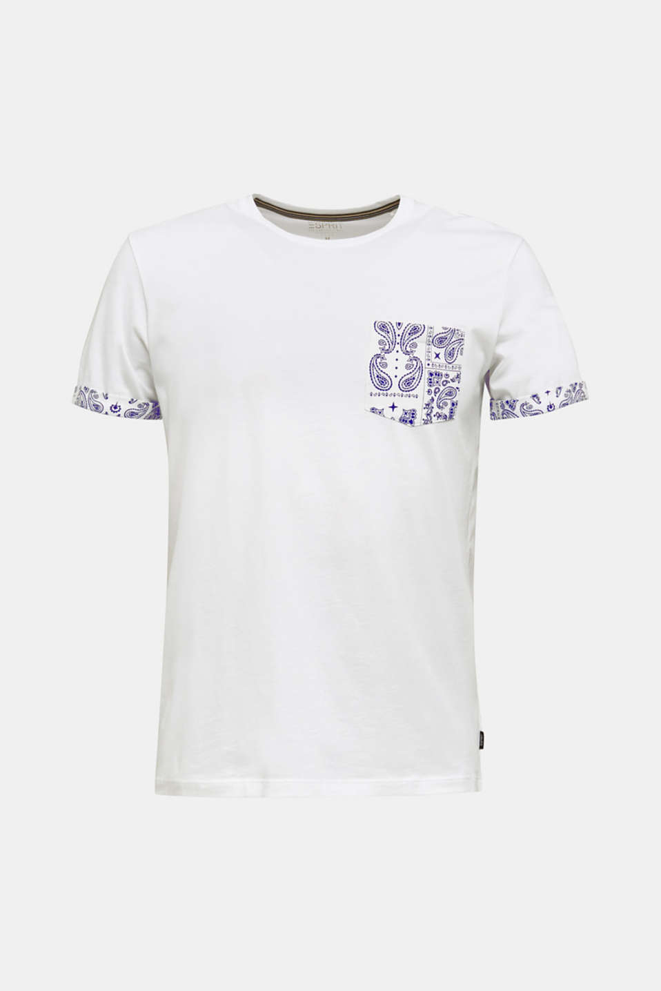 Jersey T-shirt with a bandana print, 100% cotton, WHITE, detail image number 6