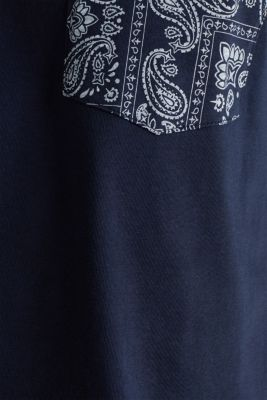 Jersey T-shirt with a bandana print, 100% cotton, NAVY 4, detail