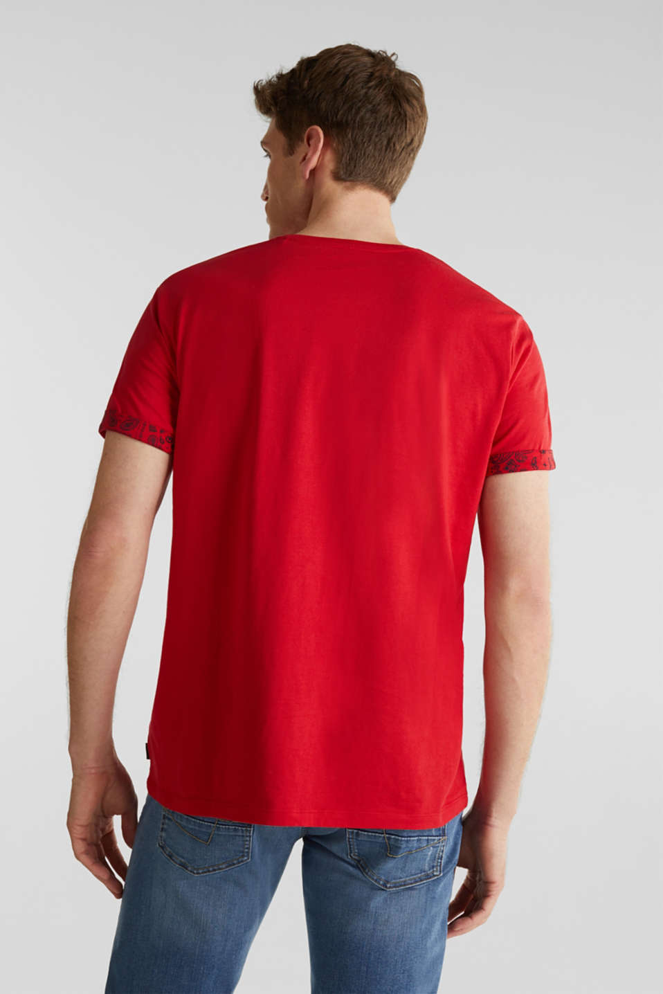 Jersey T-shirt with a bandana print, 100% cotton, RED, detail image number 2
