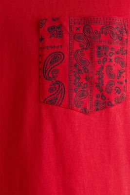 Jersey T-shirt with a bandana print, 100% cotton, RED, detail