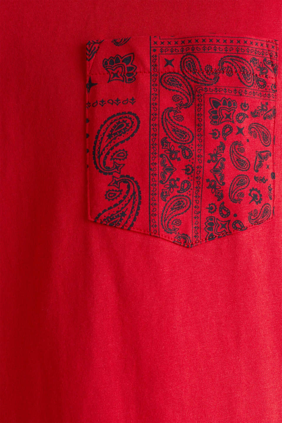 Jersey T-shirt with a bandana print, 100% cotton, RED, detail image number 3