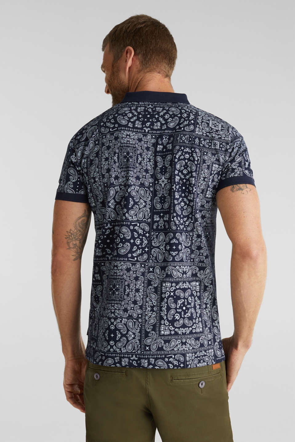 Jersey polo shirt with a bandana print, 100% cotton, NAVY 4, detail image number 3