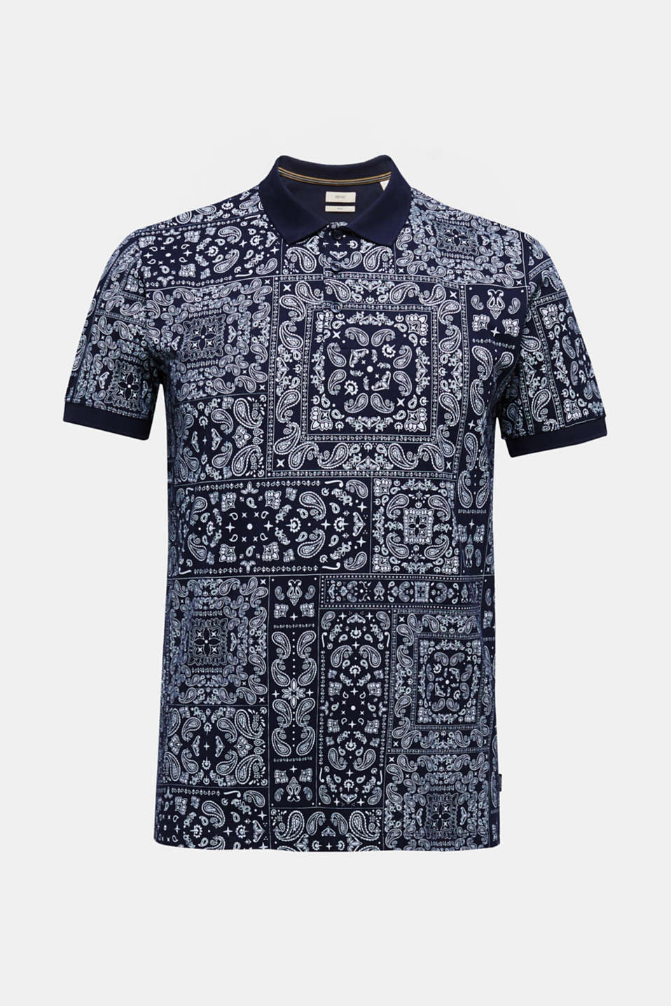 Jersey polo shirt with a bandana print, 100% cotton, NAVY 4, detail image number 7