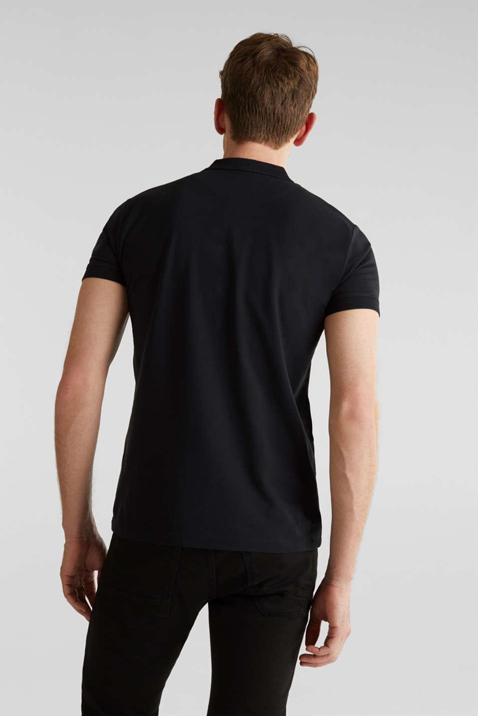 Stretch cotton piqué polo shirt, BLACK, detail image number 3