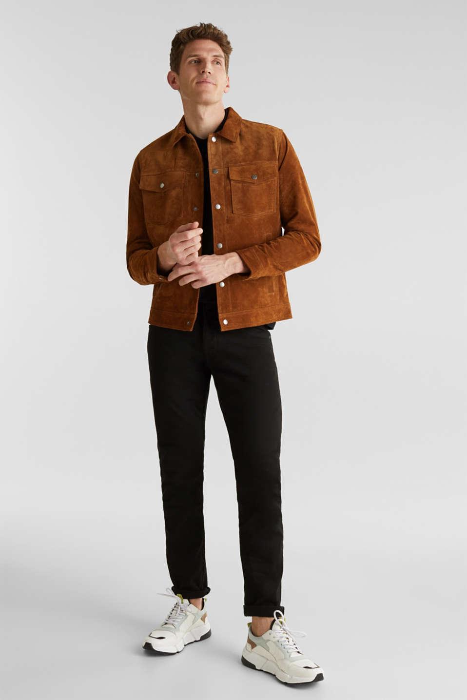 Stretch cotton piqué polo shirt, BLACK, detail image number 2
