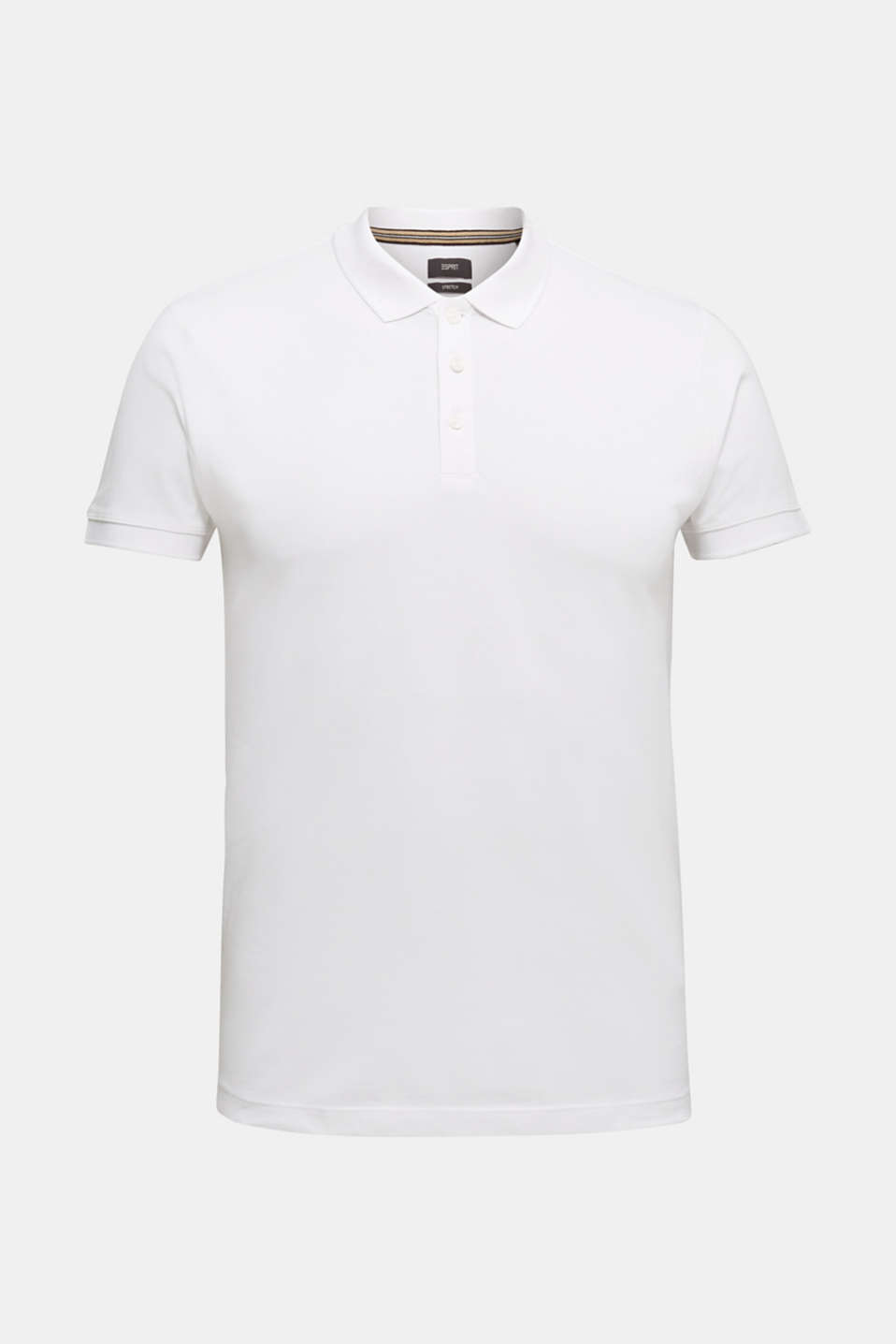 Stretch cotton piqué polo shirt, WHITE, detail image number 5