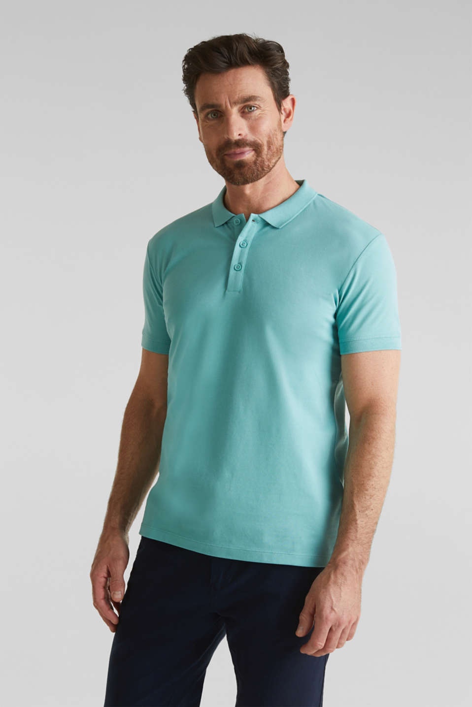 Stretch cotton piqué polo shirt, DUSTY GREEN, detail image number 0