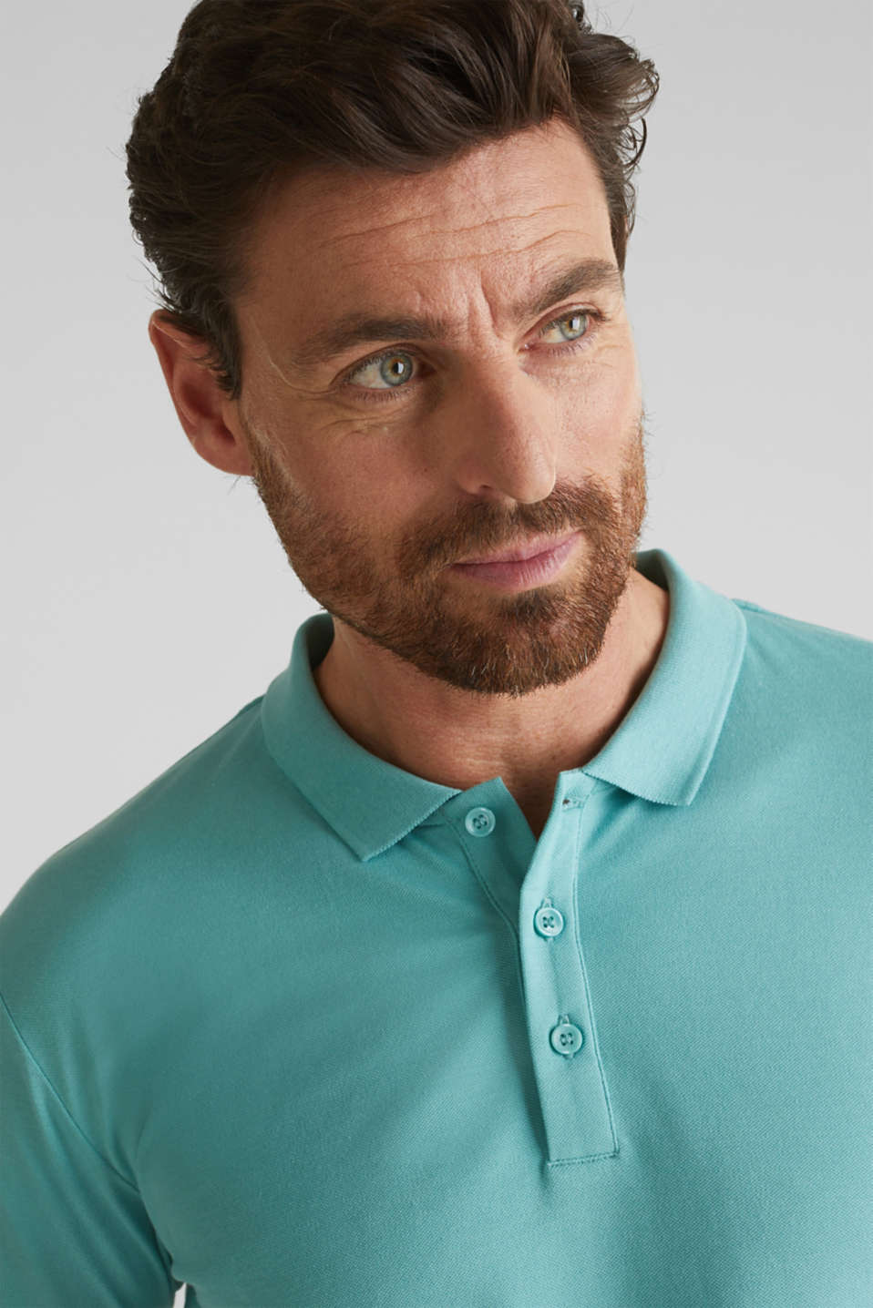 Stretch cotton piqué polo shirt, DUSTY GREEN, detail image number 1