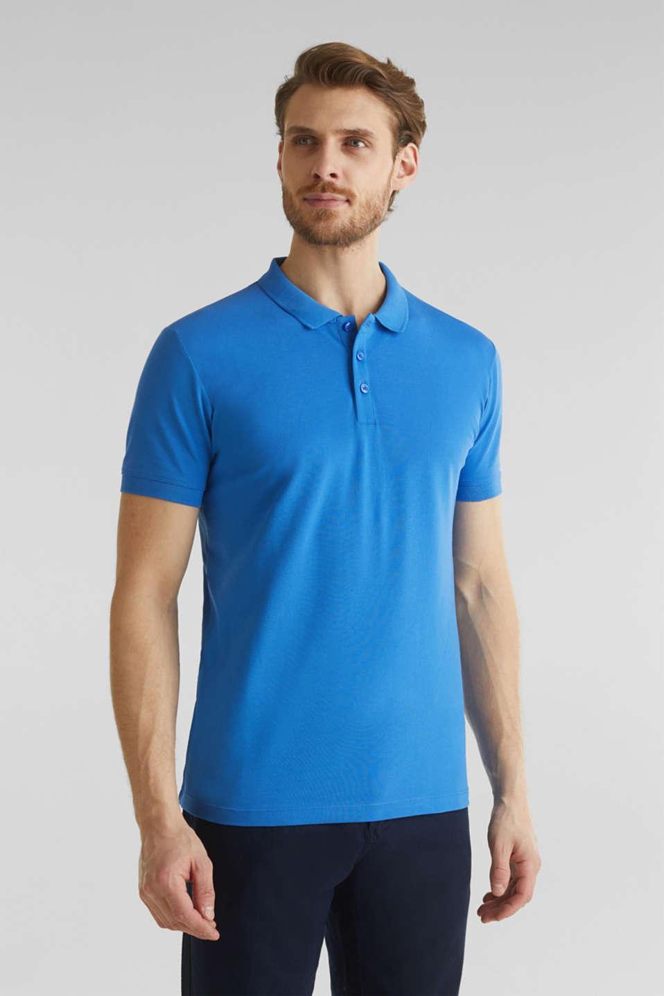 Stretch cotton piqué polo shirt, BLUE 2, detail image number 0