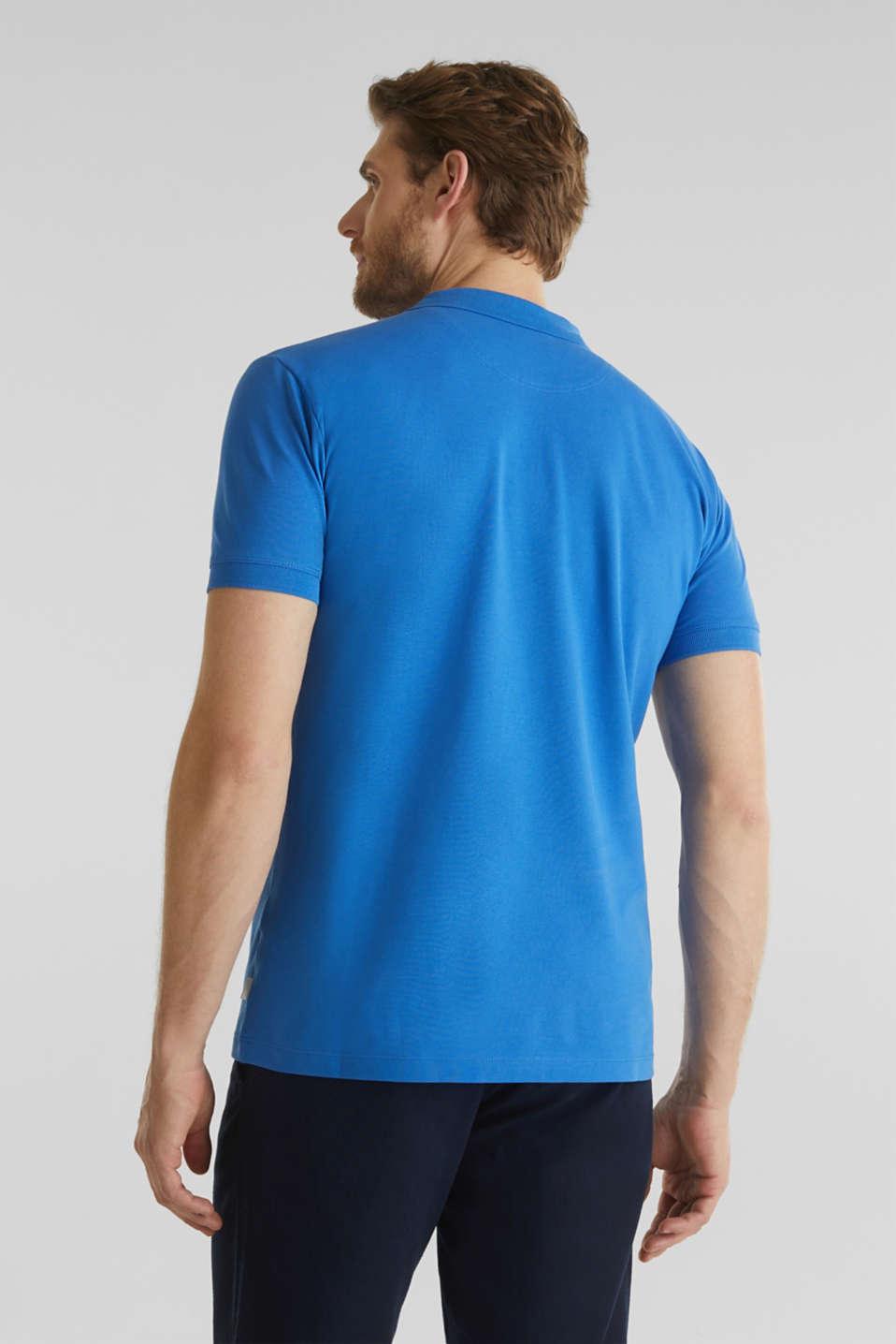Stretch cotton piqué polo shirt, BLUE 2, detail image number 3